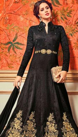 Black Pure Cotton Satin Salwar Kameez