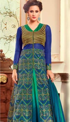 Blue Pure Cotton Satin Salwar Kameez
