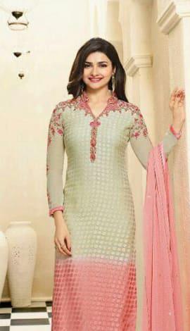 Cream & Pink Georgette Salwar Kameez