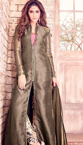 Grey Tissue Silk Salwar Kameez
