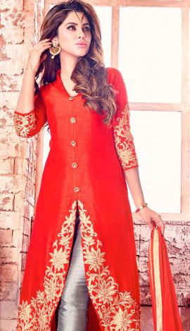 Red Bhaglpuri Silk Salwar Kameez