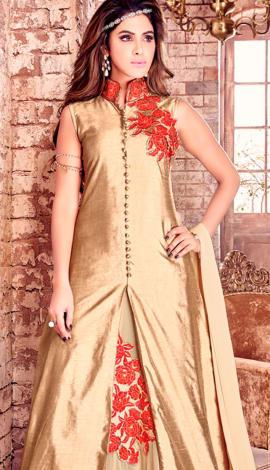 Golden Bhaglpuri Silk Salwar Kameez