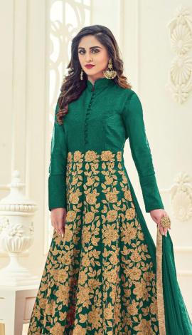 Green Banglori Silk Salwar Kameez