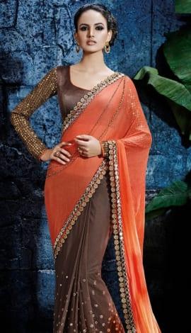 Brown & Orange Silk Saree