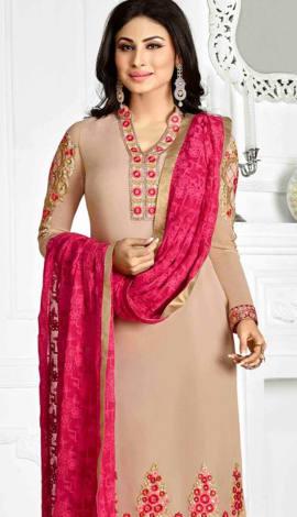 Cream & Pink Silk Salwar Kameez