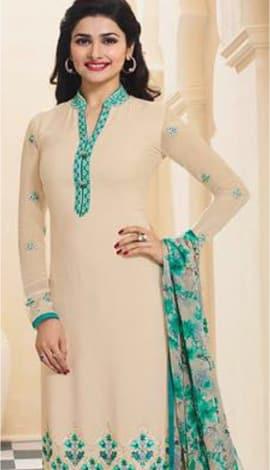 Cream & Blue Georttee Salwar Kameez