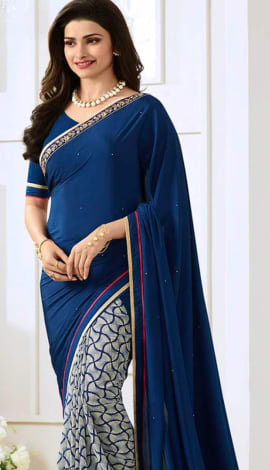Blue & White Georttee Saree