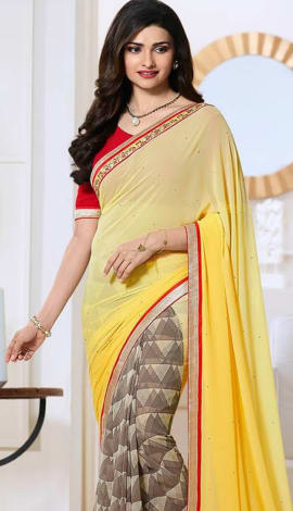 Yellow & Brown Georttee Saree