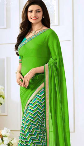Light Multi Green Georttee Saree