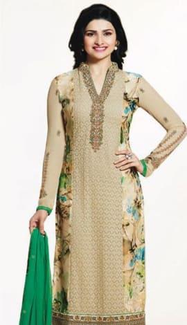 Cream & Green Georttee Salwar Kameez