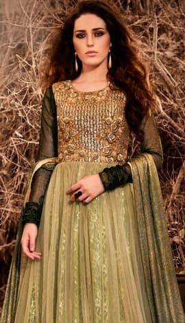 Golden & Cream Georttee Salwar Kameez