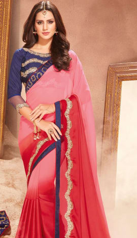 Pink & Red Silk Saree
