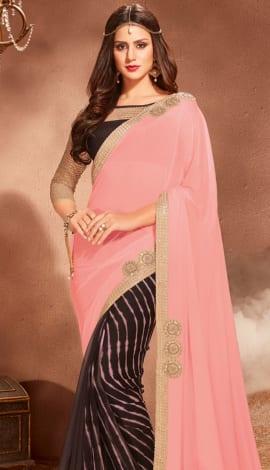 Pink & Blakc Silk Saree