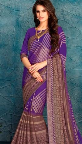Perple & Brown Silk Saree