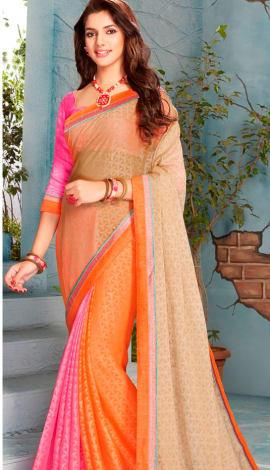 Light Orange & Pink Silk Saree