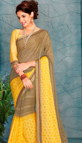 Brown & Yellow Silk Saree
