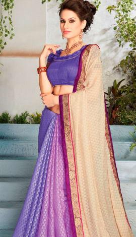 Perple & Cream Silk Saree