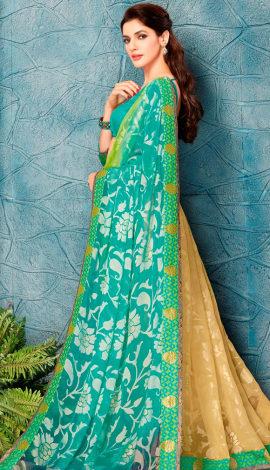 Light Blue & Cream Silk Saree