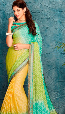 Blue & Yellow Silk Saree
