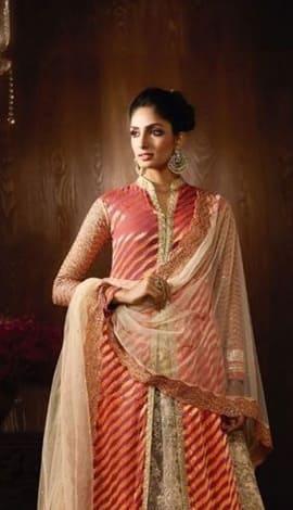 Golden Viscose Jacquard + Net Salwar Kameez