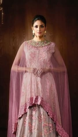 Light Pink Viscose Jacquard + Net Salwar Kameez