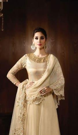 Cream Viscose Jacquard + Net Salwar Kameez