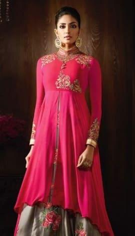 Pink Viscose Jacquard + Net Salwar Kameez