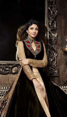 Black Pure Silk  &  Net Santoon Salwar Kameez