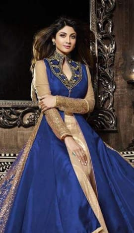 Light Blue & Golden Pure Silk  &  Net Santoon Salwar Kameez