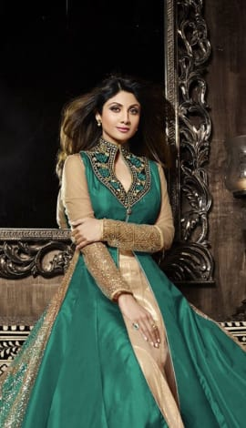 Green & Golden Pure Silk  &  Net Santoon Salwar Kameez