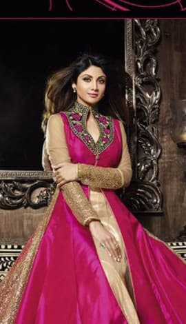 Pink & Golden Pure Silk  &  Net Santoon Salwar Kameez