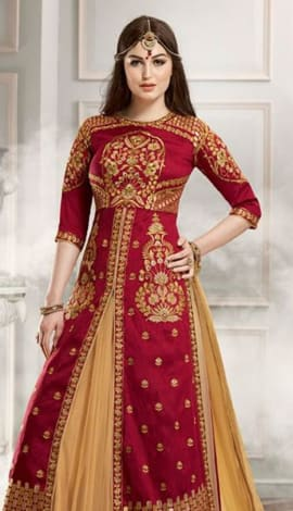 Maroon & Cream Banglori Silk With Faux Georgette Salwar Kameez