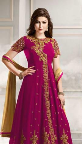 Pink & Cream Faux Georgette Salwar Kameez
