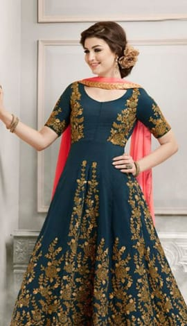 Navy Blue & Orange Faux Georgette Salwar Kameez