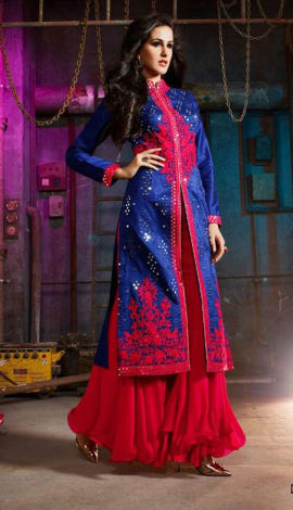 Blue & Red Georgette Salwar Kameez