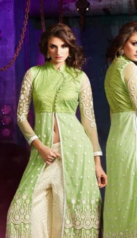 Light Green & Cream Georgette Salwar Kameez