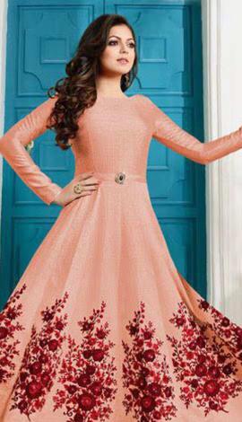 Cream Banglory Silk Salwar Kameez
