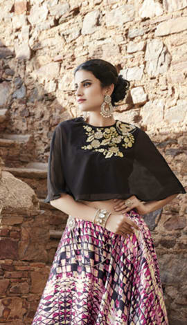 Black Georgette, Net & Satin Salwar Kameez