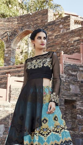 Black Art Silk & Net Salwar Kameez