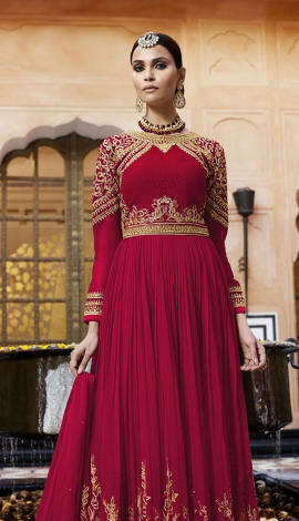 Red Georgette Salwar Kameez