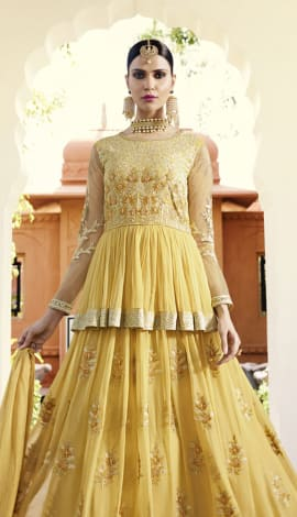 Golden Yellow Georgette & Net Salwar Kameez