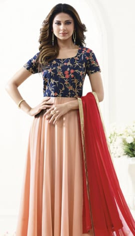 Navy Blue & Peach Art Silk & Georgette Salwar Kameez