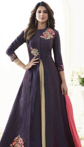 Purple & Beige Art Silk Salwar Kameez