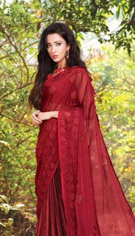 Maroon Lycra & Satin Silk Saree
