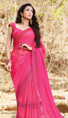 Dark Pink Chiffon Saree