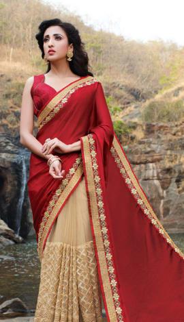 Red & Beige Silk Chiffon & Net Saree