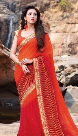 Orange & Red Chiffon Saree