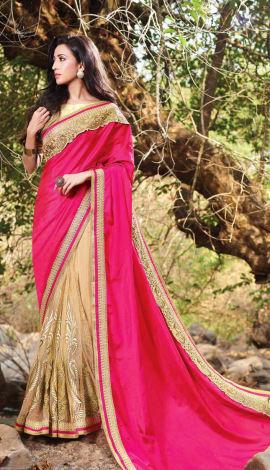 Fuschia Pink & Beige Art Silk & Net Saree
