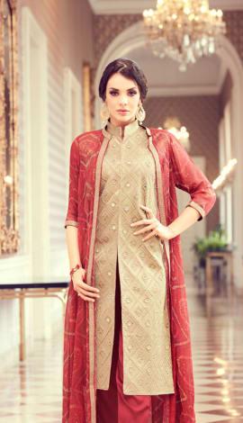Beige & Red Art Silk & Satin Georgette Salwar Kameez