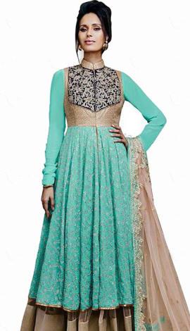 Turquoise Georgette Salwar Kameez